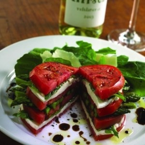 caprese sandwich: Mozzarella, asparagus, basil, and tomato, all in one stackable pile